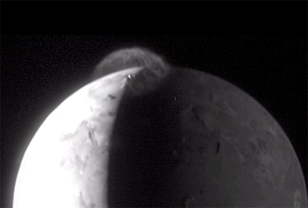 The Tvashtar volcanic plume extends hundreds of kilometres above the moon Io's surface