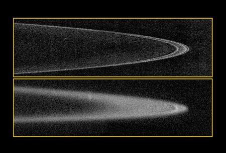 The boulders and dust in Jupiter's faint rings are kept in line by the tiny moons Metis and Adrastea