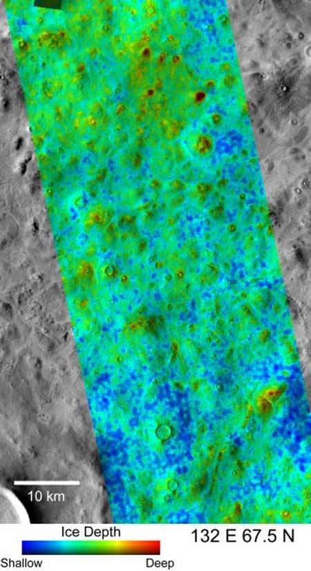 One of the proposed landing sites for the upcoming Phoenix mission lies at a latitude of 67.5° North. Phoenix is designed to dig 1 metre into the surface to analyse ice. A new study suggests the subsurface ice in that region lies at a variety of depths, from 5 cm (blue) to more than 18 cm (red)