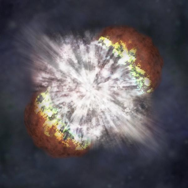 Vue d'artiste d'une supernova à instabilité de paires