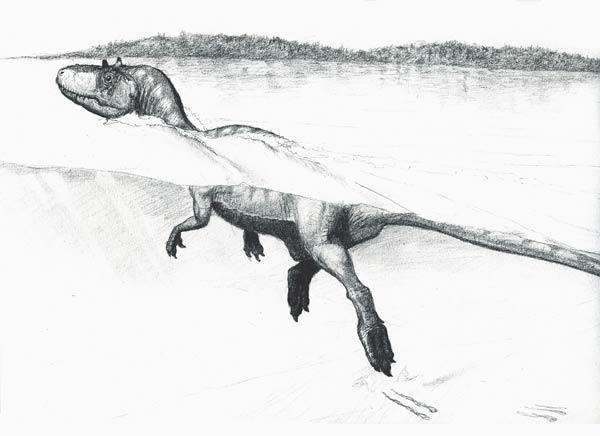 The theropod swam on the shores of a Cretaceous lake at Cameros, Spain
