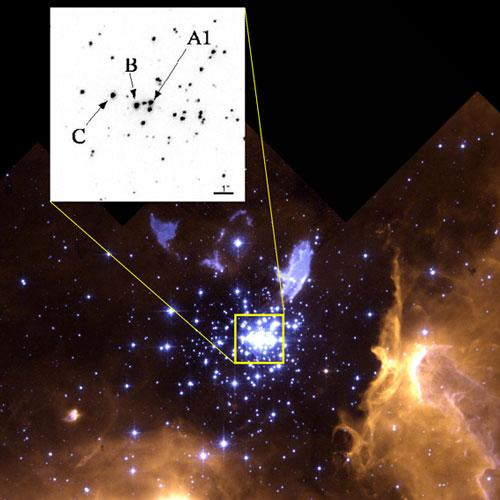 In the centre of this star cluster is a pair of stars, marked A1, that are each heavier than any star weighed before