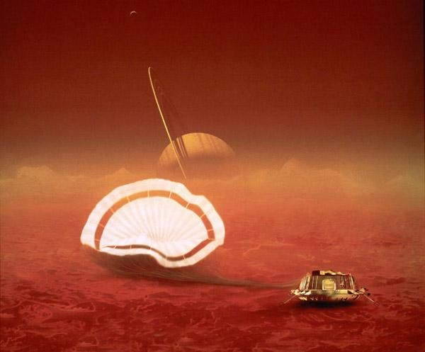 The Huygens probe seems to have detected low frequency radio waves as it parachuted down to the surface of Titan in January 2005 (Illustration: ESA/D Ducros)