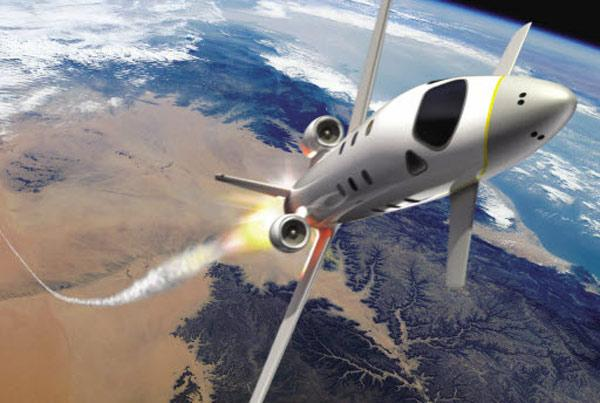 The space plane would ignite rocket engines at an altitude of 12 kilometres, climbing vertically to a height of about 100 km (Illustration: Marc Newson Ltd/NASA)
