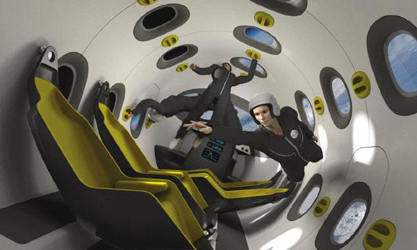 The cabin of the space plane would feature hammock-like seats that