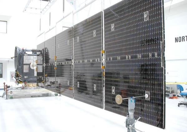 One of Dawn's solar panels was deployed during a test in late May. On Monday, a wrench hit the back of a solar panel, creating a tear about 5 centimetres long in the fabric that covers it