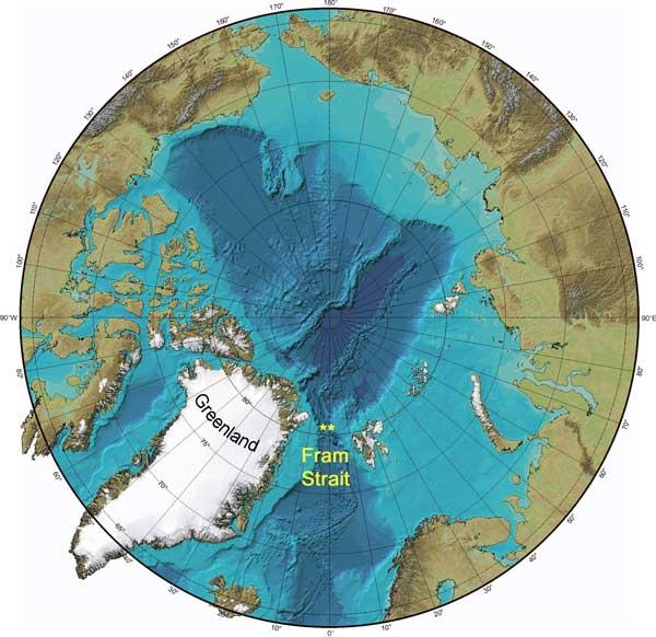 Fram Strait is today wedged between Greenland and the Norwegian archipelago of Svalbard