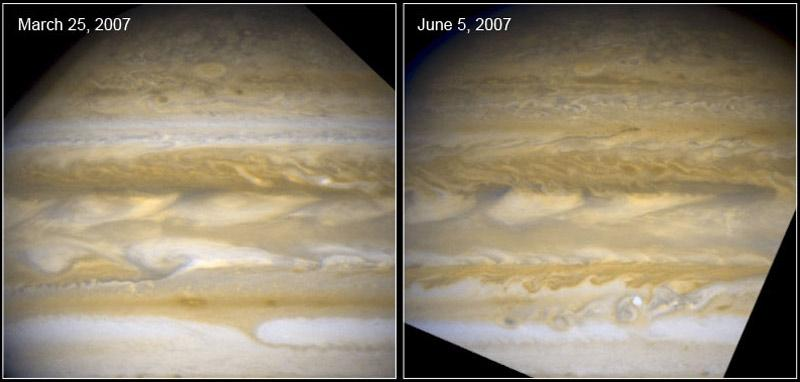 A white band visible in the upper part of the left-hand image turned brown in just a few weeks (right-hand image), while a serpent-shaped dark feature appears in its midst