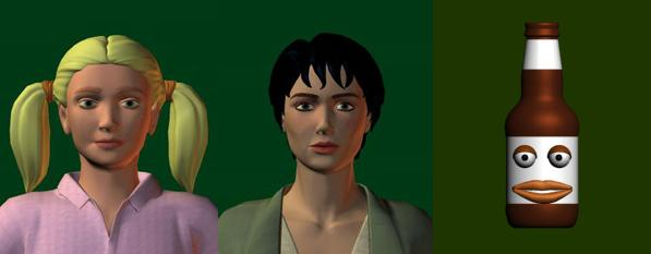 Three avatars used in the study: a girl, an androgynous person, and a ketchup bottle