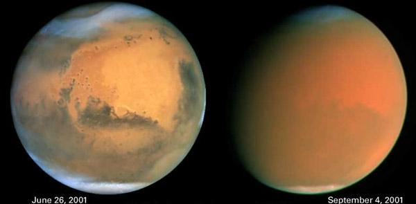 The obscuring effects of a global dust storm that hit Mars in 2001 were captured by the Hubble Space Telescope