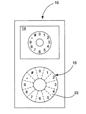 A patent filed on 5 July shows a click-wheel method for entering telephone numbers