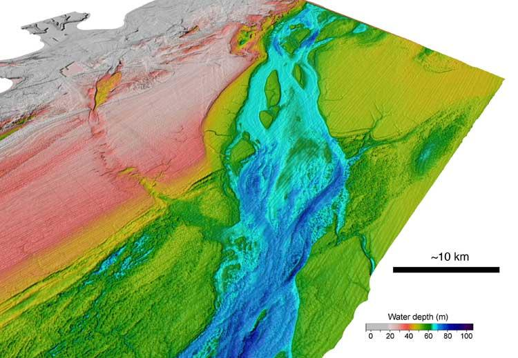 The megaflood cut a 10-km-wide valley (Pink = shallow; Blue = deep), leaving the floor lined by erosional gouges cut into rock, as well as islands