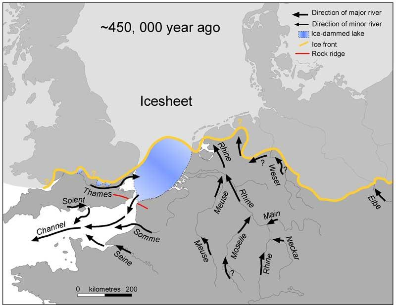A large lake existed in the southern North Sea until about 450,000 years ago, dammed to the south by the Weald-Artois rock ridge