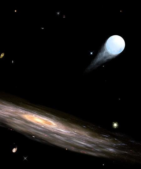 Ten 'hypervelocity' stars have been found shooting away from the centre of the Milky Way - a new study suggests that statistically, one of these finds may actually be a double star (Illustration: Ruth Bazinet, CfA)