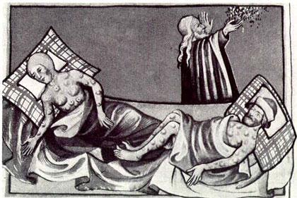 Black Death as illustrated in a 15th century bible