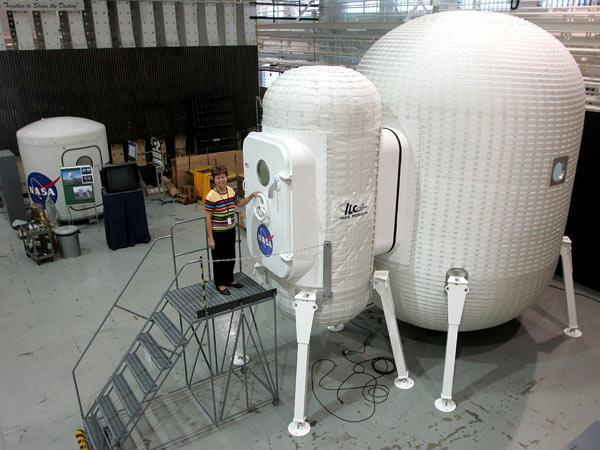 A demo of an inflatable structure sits at NASA's Langley Research Center in Virginia, US. A similar structure may be sent to Antarctica in 2008 to see how it weathers the extreme conditions there
