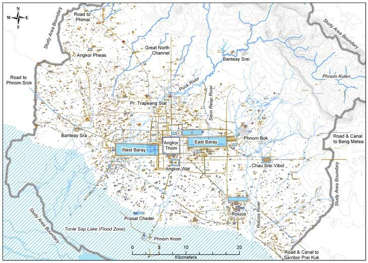The new map of Angkor Wat combines data from ground-sensing radar with aerial photographs and extensive fieldwork