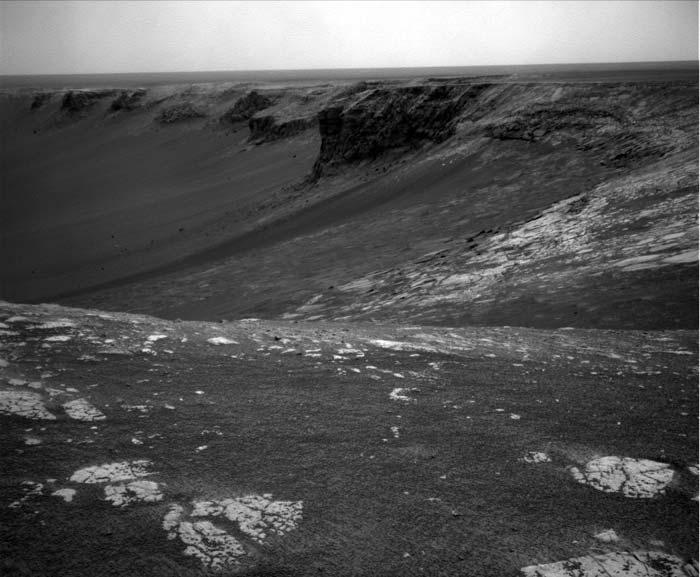 Opportunity sent back this view of Victoria crater after recent dust storms had receded
