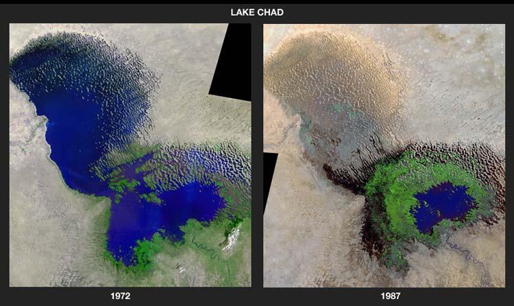 Satellite photos show the how Lake Chad has shrunk over the decades
