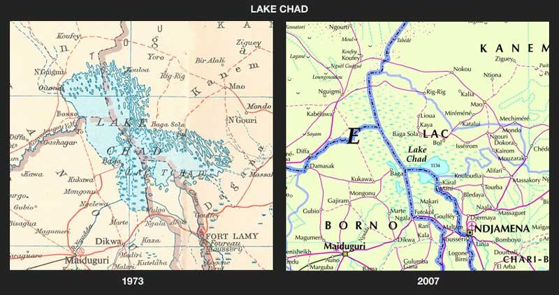 Cartographers have had to change their maps of Lake Chad to account for its shrinking shoreline