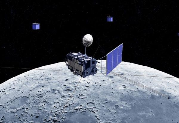Japan's Kaguya spacecraft, in cooperation with its two helper satellites, will investigate the Moon's origins (Illustration: JAXA)