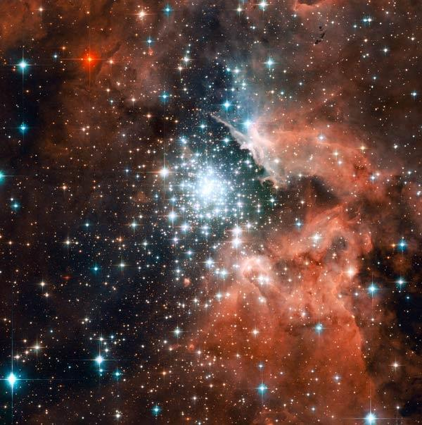Some of the heaviest known stars in the galaxy reside in this massive young cluster imaged by the Hubble Space Telescope
