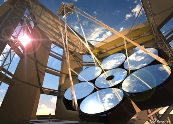 The Giant Magellan Telescope will use seven 8.4-metre mirrors arranged into a 'super dish' with an effective aperture of 24.5 metres (Illustration: Giant Magellan Telescope/Carnegie Observatories)