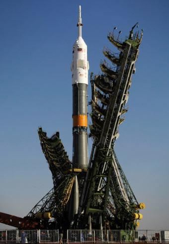 This Soyuz rocket will carry astronauts Peggy Whitson, Yuri Malenchenko and Sheikh Muszaphar Shukor to the International Space Station
