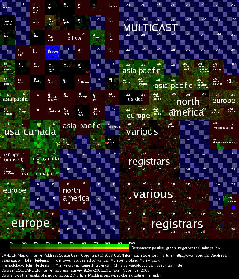 This colour coded map encompasses the 2.8 billion unique internet addresses and could help chart the spread of computer viruses