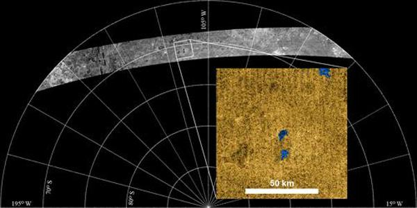 Three lakes were found on 2 October, during Cassini's first radar pass of Titan's south polar region. It is currently summer on the moon's southern hemisphere