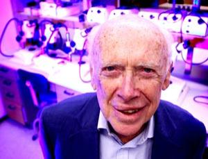 James Watson in his office at Cold Spring Harbor Laboratory, New York, America. The discovery of the structure of deoxyribonucleic acid, more commonly known as DNA, has been the foundation for much scientific work