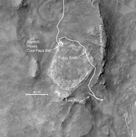 Some of Spirit's previous paths around Home Plate are labelled here. It will now head to the northern end of the raised plateau, which boasts steep, northern-tilting slopes