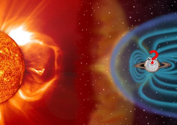 The solar wind may cause shifts in the timing of Saturn's radio pulses (Illustration: Philippe Zarka)