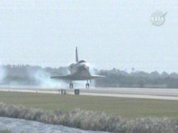 The shuttle Discovery lands safely at Kennedy Space Center in Florida, US