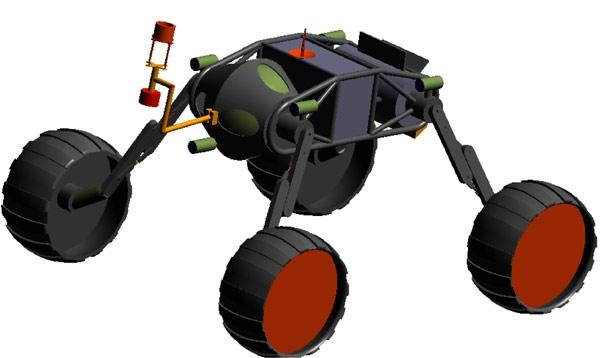 Electronics for the rover are contained at the front of the vehicle in a green sphere, which is only partly visible through gaps in the vehicle frame. Green cylinders represent cameras, and the red object at the front is a robotic arm that has science instruments mounted on it (Illustration: Shawn Krizan/NASA)