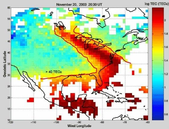 A plasma plume over North America was mapped on 20 November 2003 by its effects on GPS signals