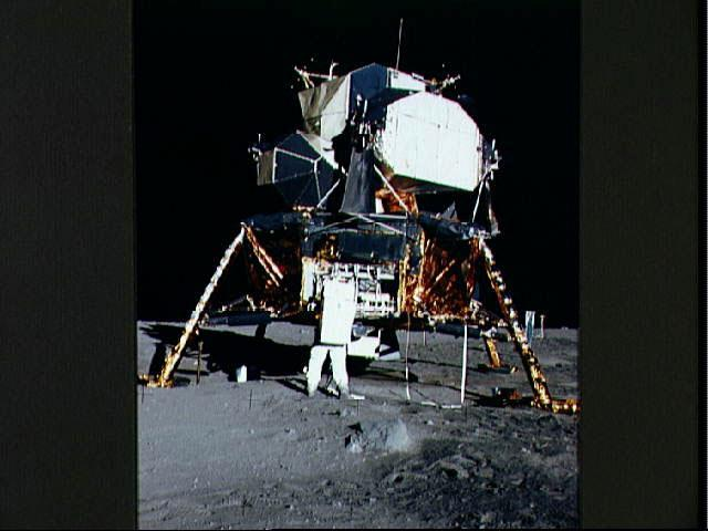 The Apollo 11 lunar lander on the surface of the moon