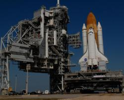 Space shuttle Atlantis awaits its launch at Florida's Kennedy Space Center