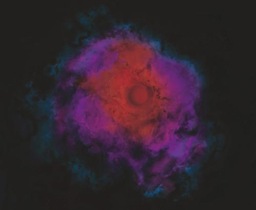 Dark matter could prevent clouds of hydrogen and helium from contracting into normal stars in the early universe, according to a new study. But even though the clouds would not ignite nuclear fusion to shine like our Sun, they would be heated by the annihilation of dark matter, glowing at infrared wavelengths (Illustration: University of Utah)