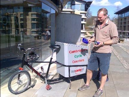 Cycle couriers in Cambridge, UK, are being equipped with sensors that report air pollutants and their location using cellphones
