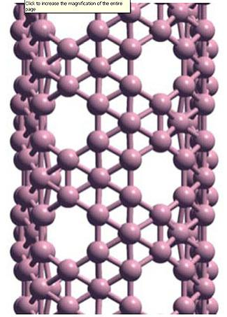 The most stable boron nanotubes are made of a hexagonal lattice with an extra atom added to some of the hexagons