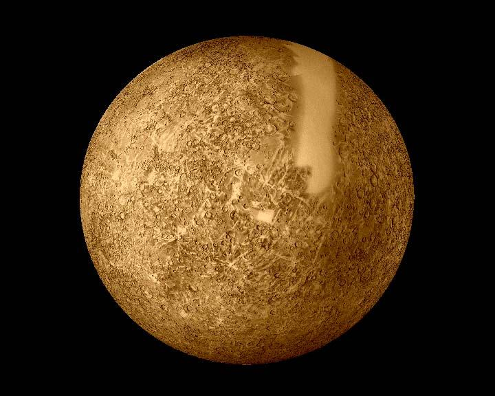 This image mosaic was created from observations taken by NASA's Mariner 10 mission, which imaged 45% of Mercury's surface during three flybys in 1974 and 1975. On 14 January, Messenger will see parts of the planet that have never been seen at close range