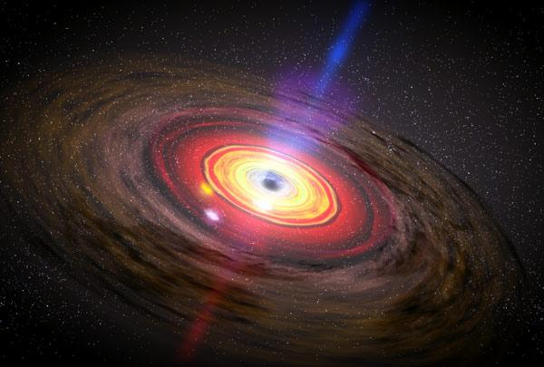 Hot spots (white) in matter swirling around black holes may produce X-ray flares. Because of the extreme gravity of black holes, each flare could appear as a rapid-fire series of light pulses (Illustration: NASA/Dana Berry/SkyWorks Digital)