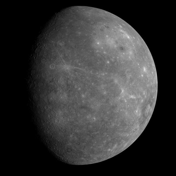 This image was taken 80 minutes after Messenger's closest approach to Mercury, from a distance of 27,000 kilometres