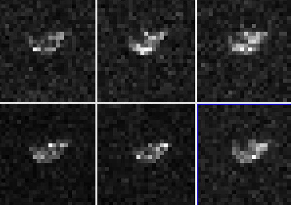 The 250-metre-wide asteroid 2007 TU24's asymmetric shape hints that it may have formed when two orbiting asteroids fell together. This image was taken by NASA's Goldstone radio telescope in California, US