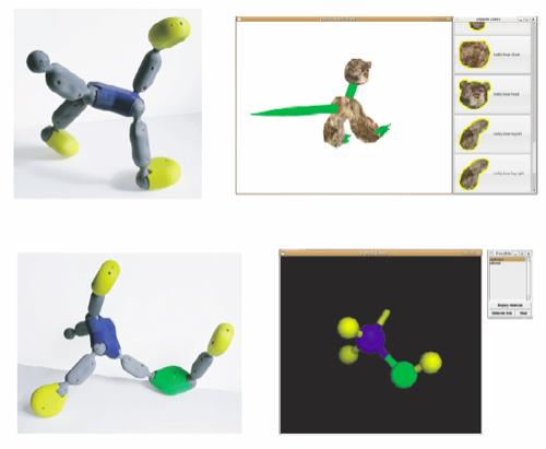 Posey can be used to animate virtual characters or build molecular representations