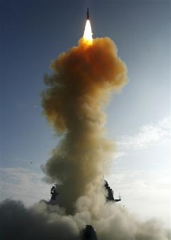 The USS Lake Erie launches a Standard Missile-3 at a failed spy satellite on 20 February