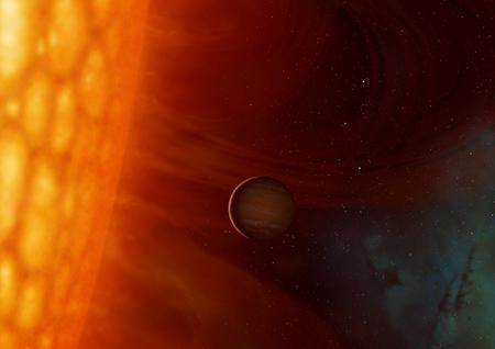 When the Sun expands into a red giant several billion years from now, the Earth will be dragged into its atmosphere to a fiery demise, a new study argues (Illustration: Mark Garlick/HELAS)