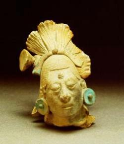 The Mayans used their fabled Maya blue colour in offerings, murals and pottery. The image shows a figurine head from Mexico dating back to around 600 to 900 AD