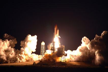 Space shuttle Endeavour blasts off, carrying a Japanese lab for the space station